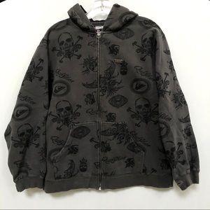 Quicksilver skull print zip up hoodie sweatshirt